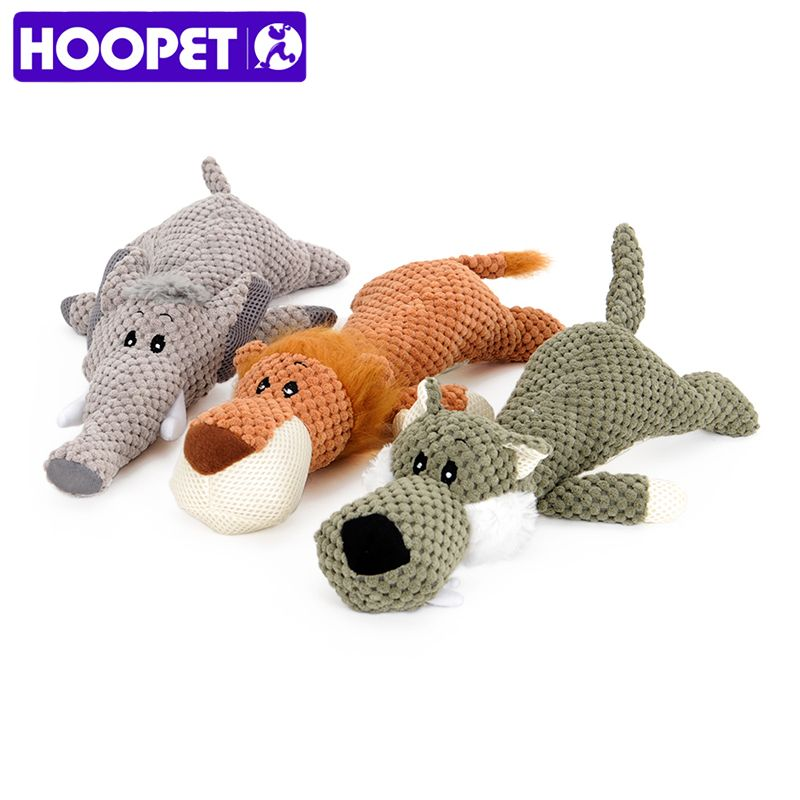 HOOPET Pet Toy Animal Shape Lion Elephant Sound Chew Three Colors Interactive Toys