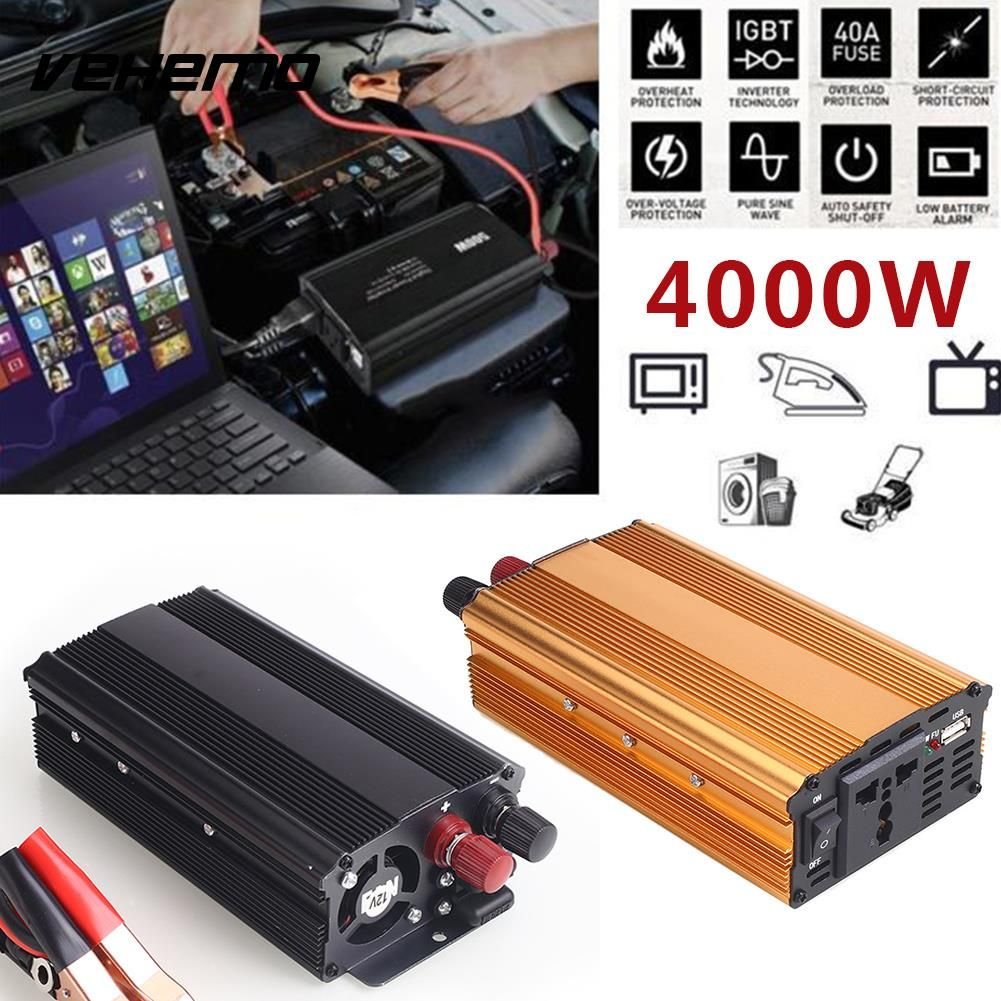 Vehemo 4000W DC12V To AC220V Converter Truck Car Power Inverter Car Inverter Premium Stable Automobile USB