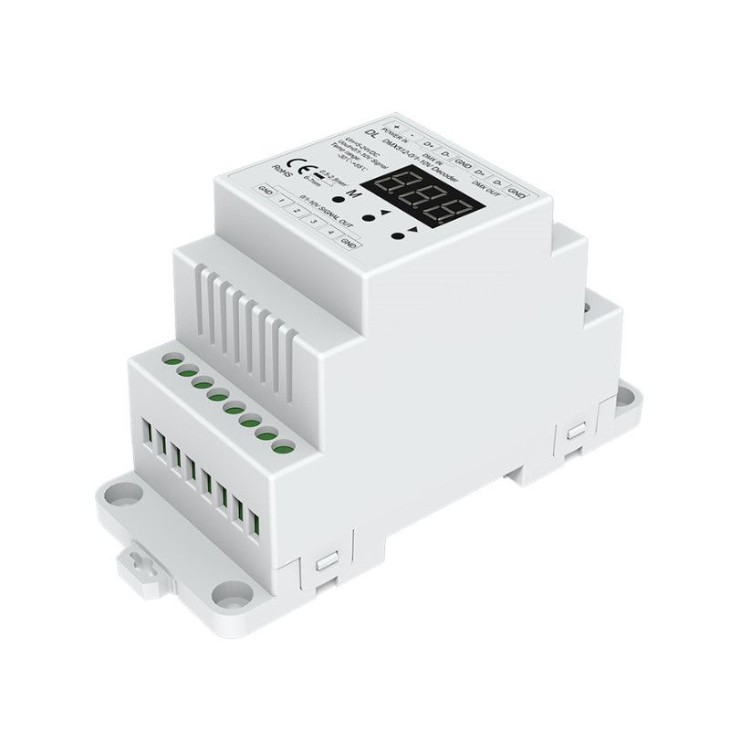 New DL 4 Channel DMX512 to 1-10V / 0-10V Decoder ;DC5-24V input;4CH 20mA/CH 10V PWM DMX decoder setting dmx address Track Type
