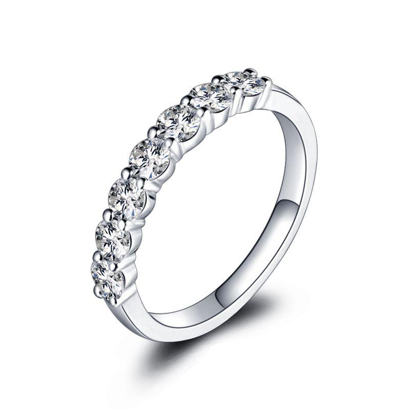 ZHJIASHUN Klassische 7-stein Diamant Moissanites 0.7ct Runde Cut 14 k 585 Weiß Gold Hochzeit Ring Für Frauen Diamant schmuck