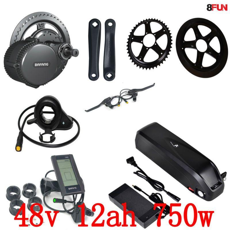 48V 12Ah 750W 1000W Li-ion Down tube E-bike Battery lithium battery and BBS02 Bafang/8fun 48V 750W Mid Drive Electric Motor Kits