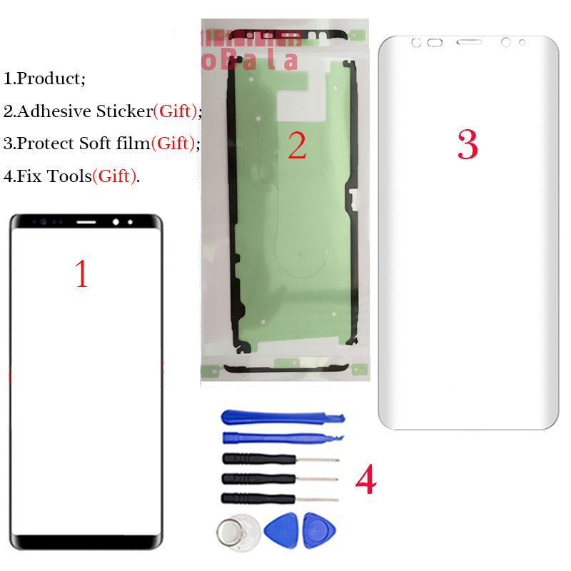 LOVAIN 1Pcs Original For Samsung Galaxy Note8 Note 8 N950 Front Glass 6.3 Touch Screen Top Lens LCD Outer Panel+Adhesive+Tools