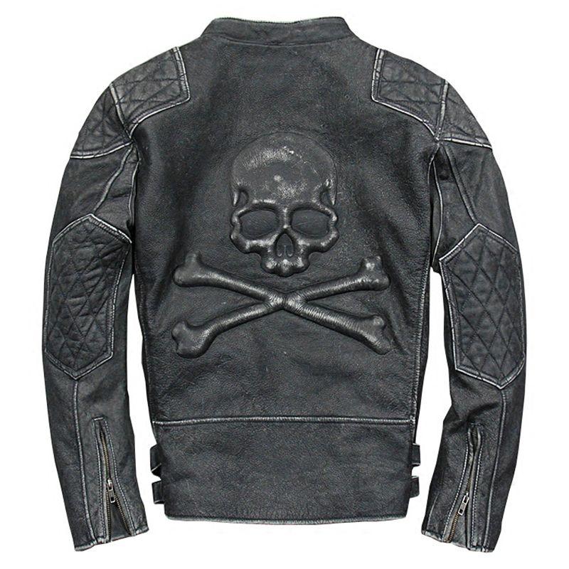 New arrival men's genuine cow skin skull motor biker leather jacket mans skull genuine cowhide leather jacket