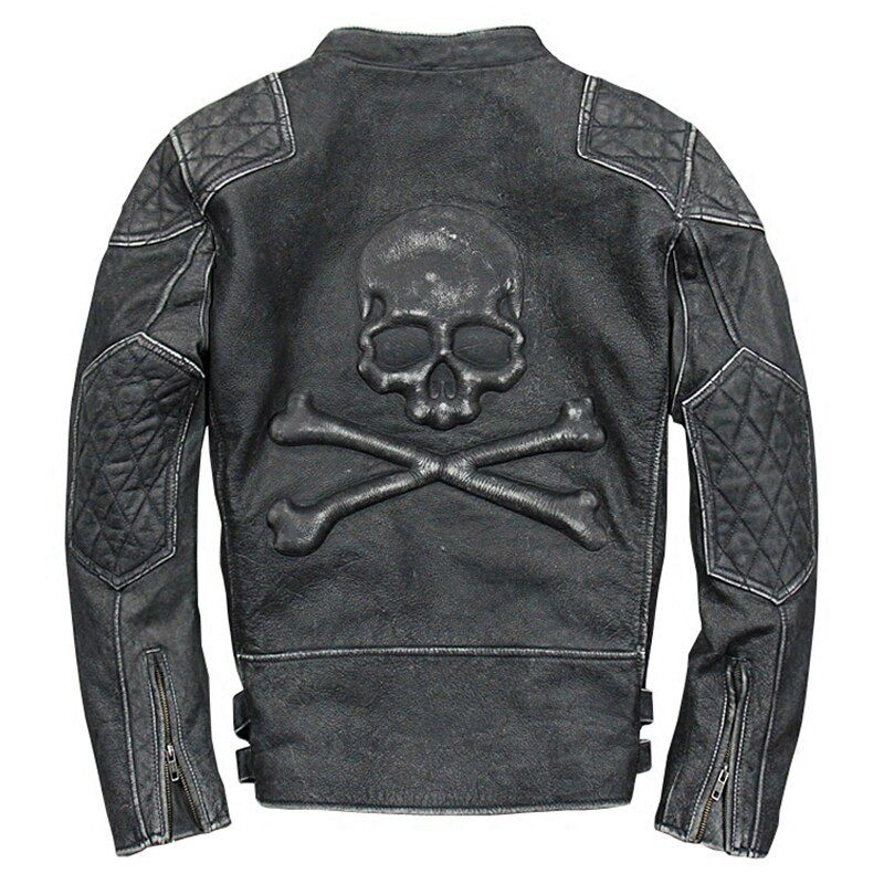 New arrival men's genuine cow skin skull motor biker leather jacket mans skull genuine cowhide leather jacket