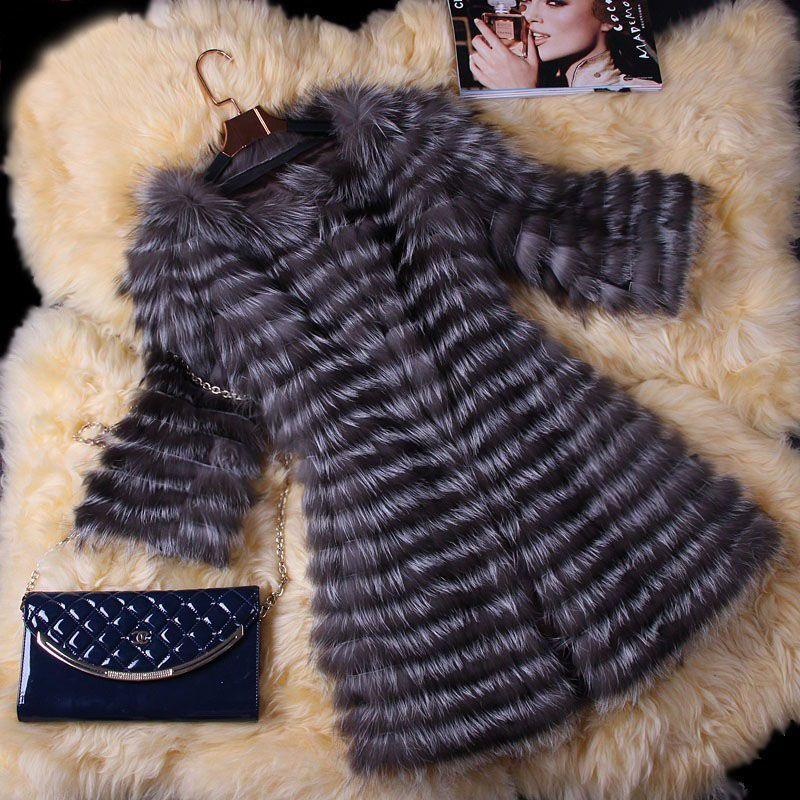 BFFUR Real Fur Coat Luxury Women Winter Fashion Style Natural Fur Vest Coat Female Silver Fox Fur Coat Real Fur BF-C0006