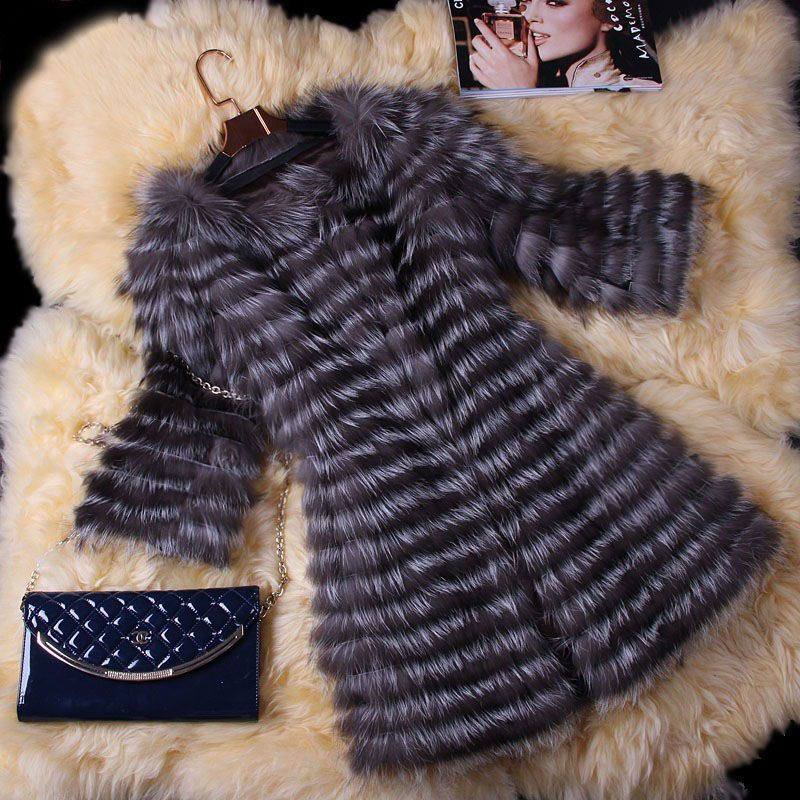 BFFUR Real Fur Coat Luxury Women Winter Fashion Style Natural Fur Vest Coat Female Silver Fox Fur Coat Real Fur BF-C0006