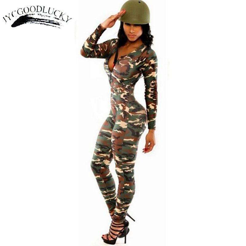 Salopette Camouflage Body Be It barboteuses Combinaison Femme combishort Sexy Fitness combinaisons Combinaison Femme Slim Catsuit pour Femme