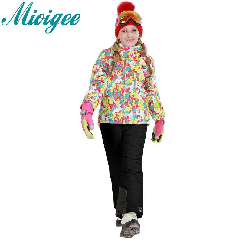 Mioigee 2017 спортивный костюм для девочки спортивный костюм одежда для девочек костюм для девочки зимний костюм для девочки -30 градусов зимняя д...