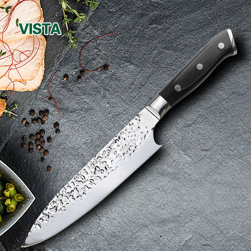 Chef Knife Kitchen Knives Steel 8 Inch Stainless 7Cr17 Meat Cutter Sushi Knife Pakka Wood Handle Razor Sharp blade Top Grade