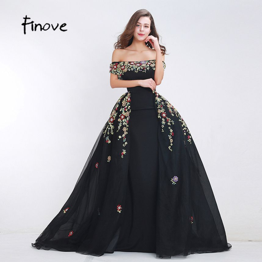 Finove Beading Prom Dresses 2018 New Styles Sexy Boat Neck A-Line Detachable Skirt Floor Length Long Dresses for Women