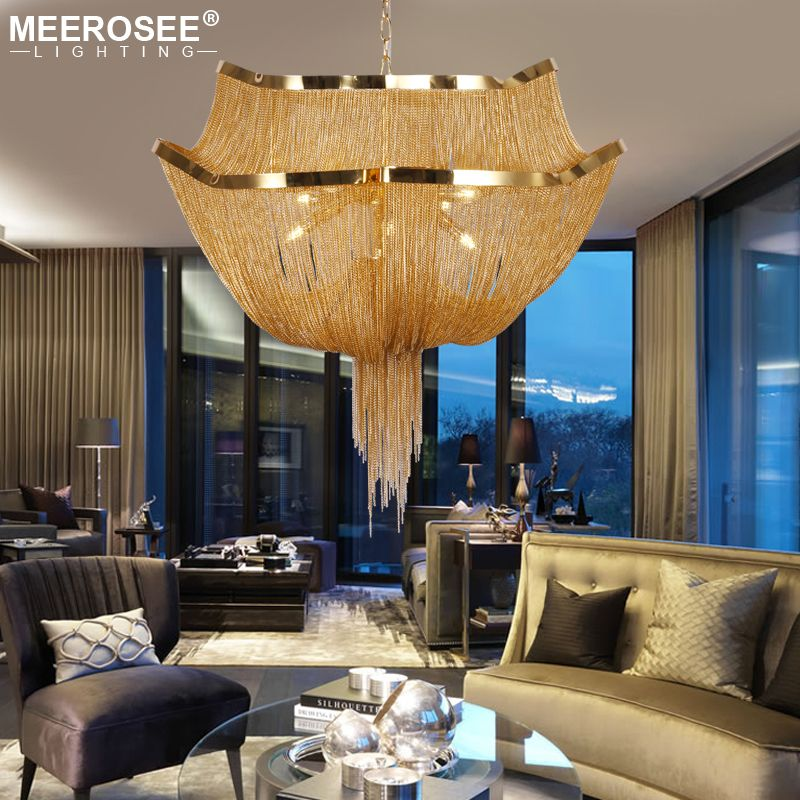Aluminum Chain Tassel Chandelier Lights Modern Hanging Lighting For Living Room Industrial Lamp Suspension Luminaire MD86212