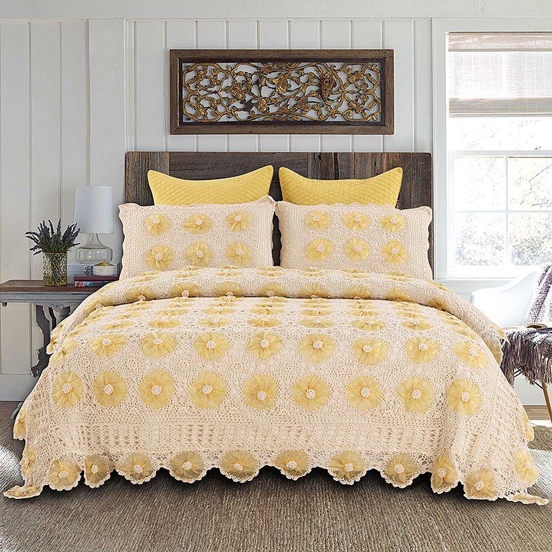 Amerikanische Landschaft Stil Bettdecke Luxus Spitze Rand Hand Häkeln Baumwolle Bettdecken Hand Made Floral Muster Sommer Bettdecken
