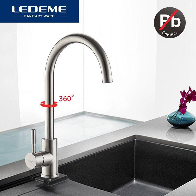LEDEME robinet de cuisine classique en acier inoxydable brossé processus robinet de bassin pivotant 360 degrés Rotation robinet en acier inoxydable