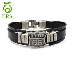 ER Mâle Rock Ethnique Bracelet Hommes En Cuir Véritable Main Bracelet Femelle Brassard Braslet Homme Moteur Route 66 Bijoux LB240