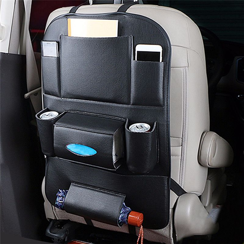 Car Organizer Car Seat Back Storage Bag Travel Box Multi-pocket PU Leather Backseat Hanger Auto Accessories Interior Stowing