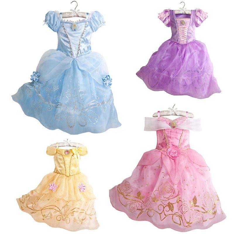 2019 Girls Summer Dress Kids Cinderella Snow White Cosplay Costume Baby Girl Princess Dress Rapunzel Aurora Belle Dress Vestidos