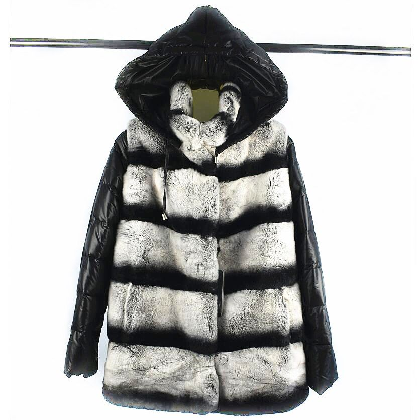 2018 damen neue natürliche rex pelz mantel ärmeln abnehmbare trägt hut mantel drei-in-one variable weste winter warme mode casual E