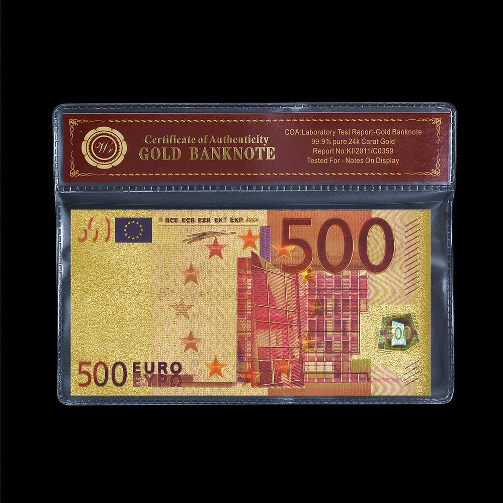 Europäische 500 Bunte EURO Vergoldet Gedenk Papier Geld Bill Weltweit gelddetektor Halter