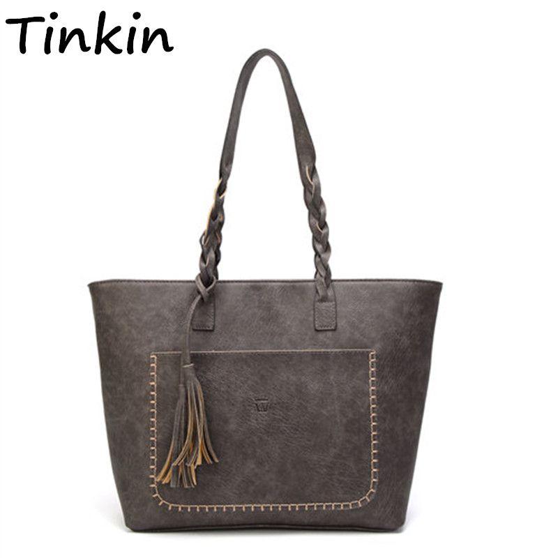 Tinkin Vintage PU Tassel Women Shoulder Bag Female Retro Daily Causal Totes Lady Elegant Shopping Handbag
