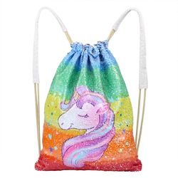 Lukisan Unicorn Serut Tas Payet Mermaid Tas Ransel Sihir Bolak Balik Tas Bahu Kasual Pesta Rumah Penyimpanan D15