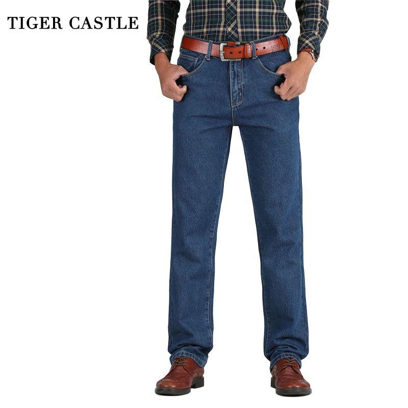 Замок тигра 2017 Лидер продаж Для мужчин Хлопковые Прямые классические Джинсы для женщин мешковатые Демисезонный Для мужчин; джинсовые штаны...