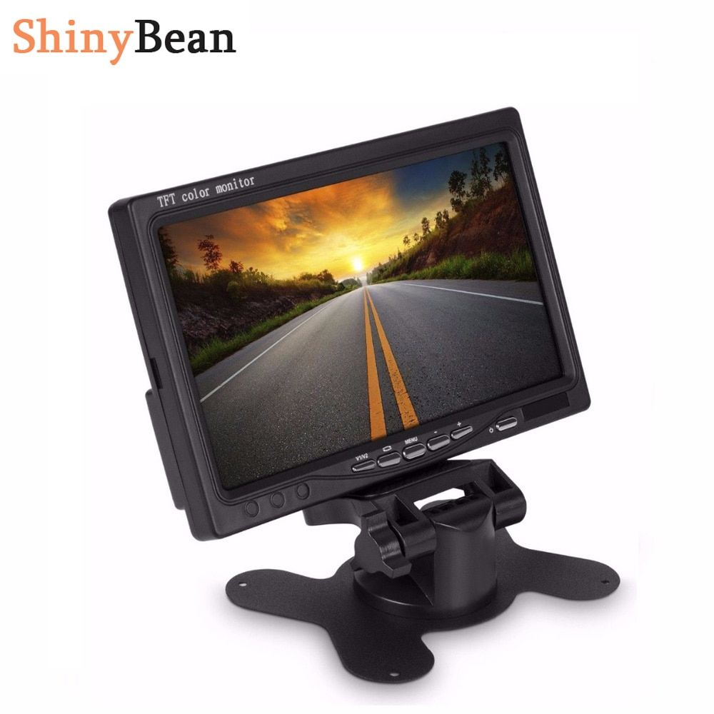 HD 7 inch Car Monitor Multifunctional 800*480 Bright Color AUX In DC12V-24V Interface TFT LCD VGA Auto Back Up Rear View Monitor