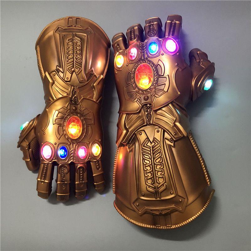 Marvel Avengers Endgame Superhero Thanos Infinity Gauntlet Cosplay Gloves Avengers LED Glove Kids Adult Snap Mittens Toy New