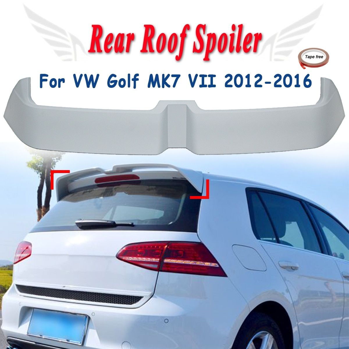 Unapinted Rear Trunk Roof Spoiler Boot Lip Wing Fits For VW Golf MK7 MK7.5 2012-2016 Window Tail Wings FRP