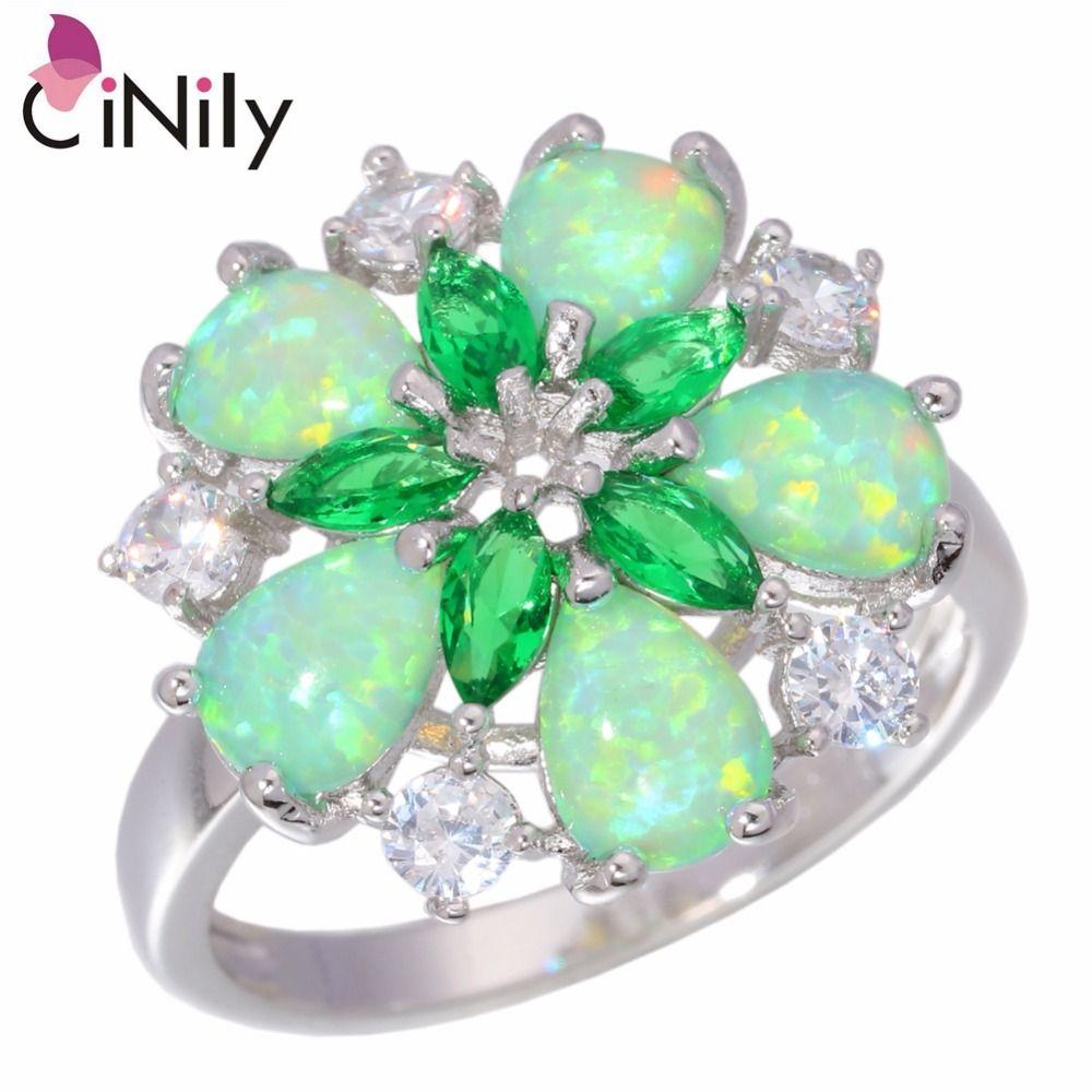 CiNily Créé Vert Opale de Feu Cristal Cubique Zircon Argent Plaqué Anneau En Gros Au Détail pour les Femmes Bijoux Anneau Sz 6-10 OJ5065
