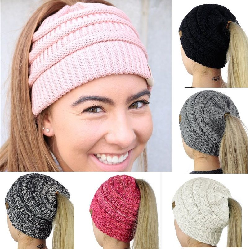 Más nuevo Caliente Del Invierno Slouch mujeres Niñas Ponytail Beanie slouchy Knit sombrero del deporte
