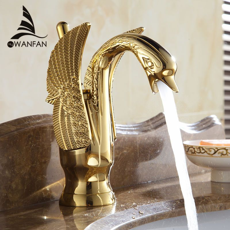 Basin Faucets New Design Swan Faucet Gold Plated Wash Basin Faucet Hotel Luxury Copper Gold Mixer Taps hot and cold Taps HJ-35K