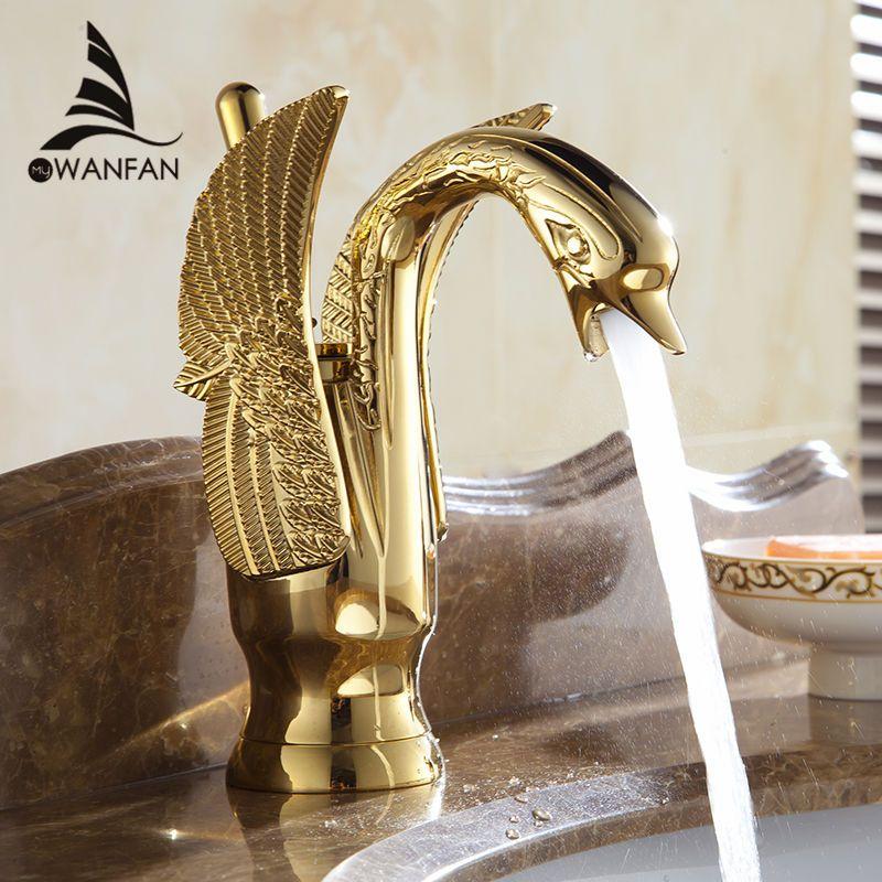 Robinets de bassin nouveau Design cygne robinet plaqué or lavabo robinet hôtel luxe cuivre or mélangeur robinets chaud et froid robinets HJ-35K