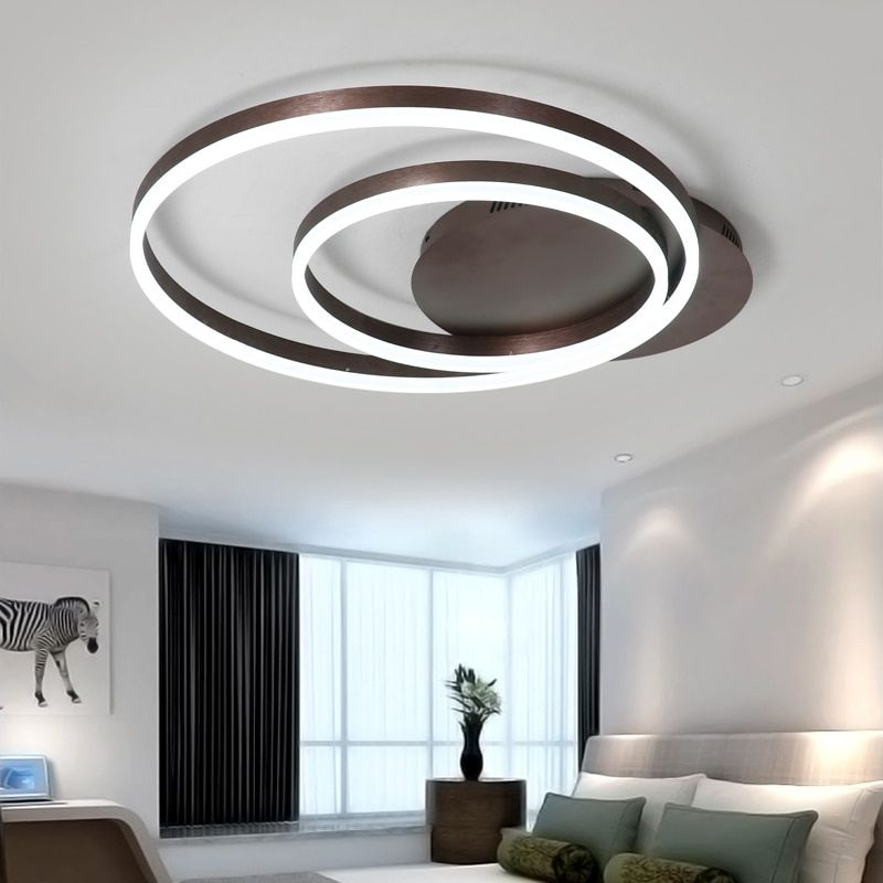 New Modern LED ceiling lights for living room Bedroom lamp ceiling brown Aluminum Round LED Ceiling Lamp lamparas de techo