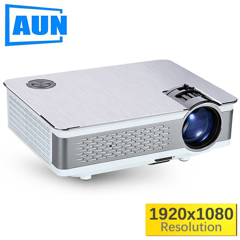 AUN Full HD Projector. AKEY5 UP. <font><b>1920</b></font>*1080P, 3,800 Lumens, Android Beamer with WIFI, Bluetooth, LED TV. Optional AKEY5 IMP-5803