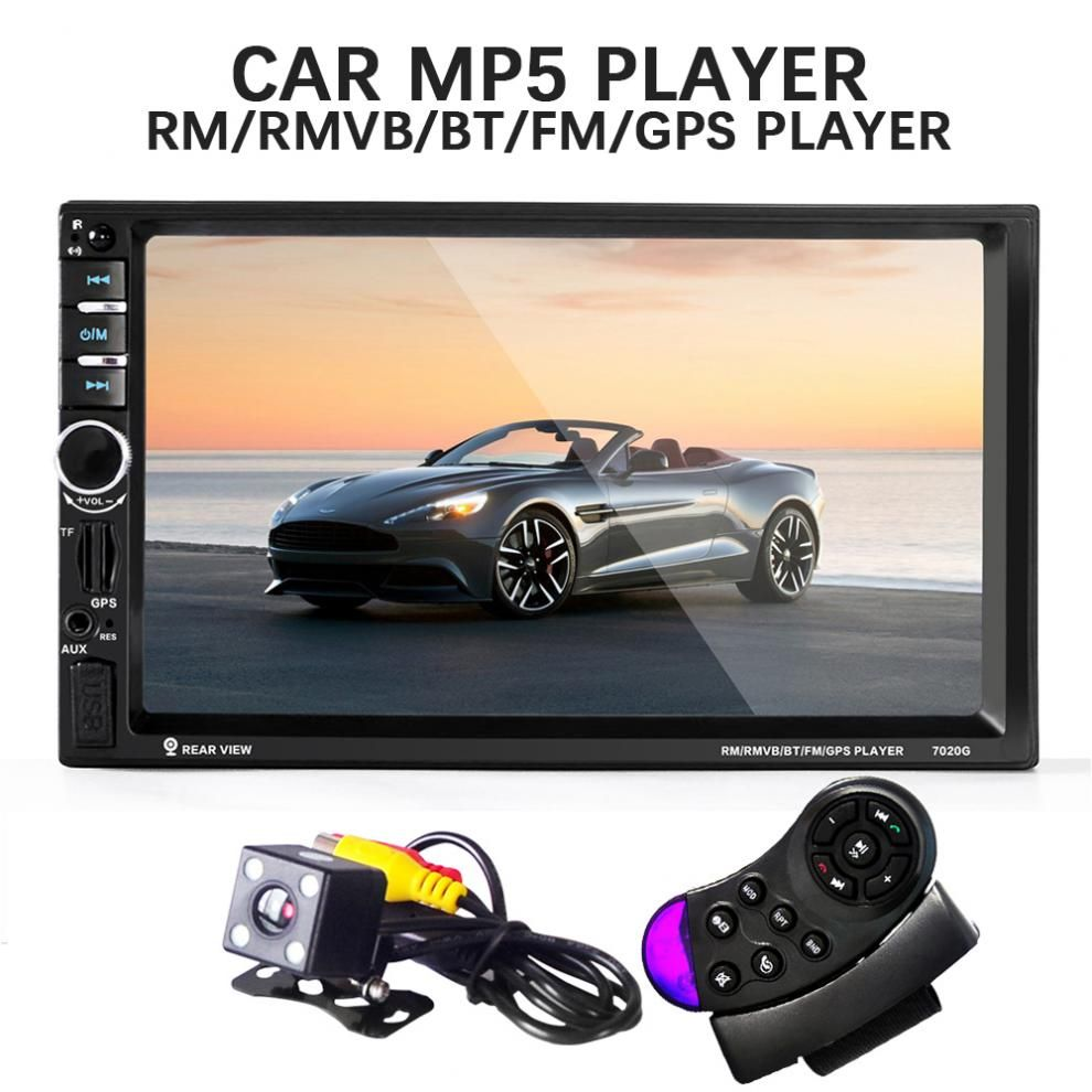 7020G 2 Din Car Mp3 MP5 Player Bluetooth AUX/USB/FM GPS Navigation Remote Control Touch Screen Car Audio With Rear View Camera