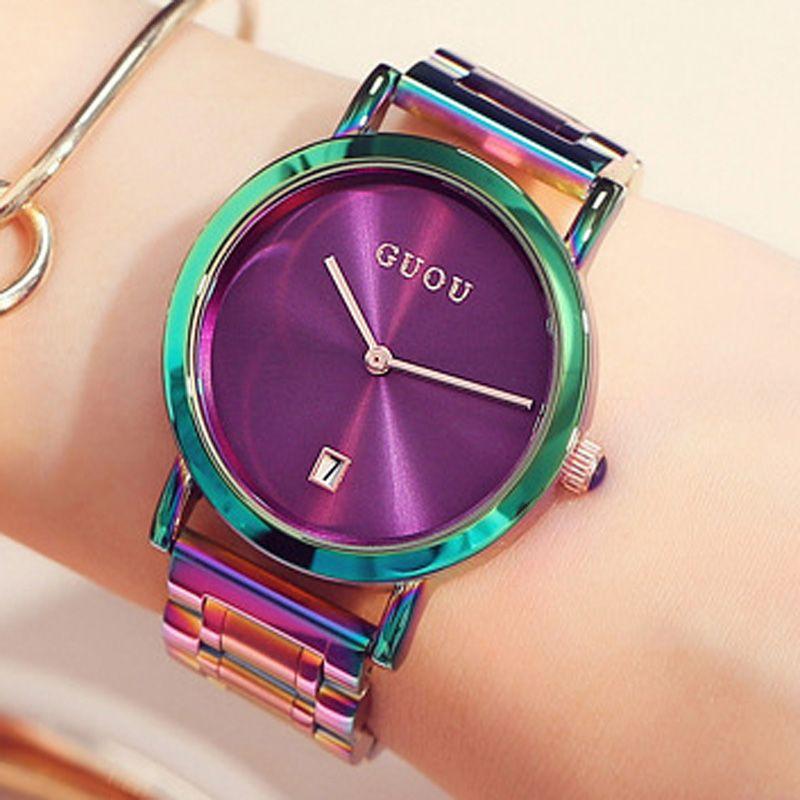 Браслет Часы для Для женщин GUOU модные женские часы Женские часы розовое золото часы Для женщин Календари Relogio feminino Saat