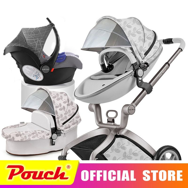 Hot mom 360 2018 stroller high landscape can sit or lie pneumatic wheel super shock absorbing portable 3 in 1 collapsible cart