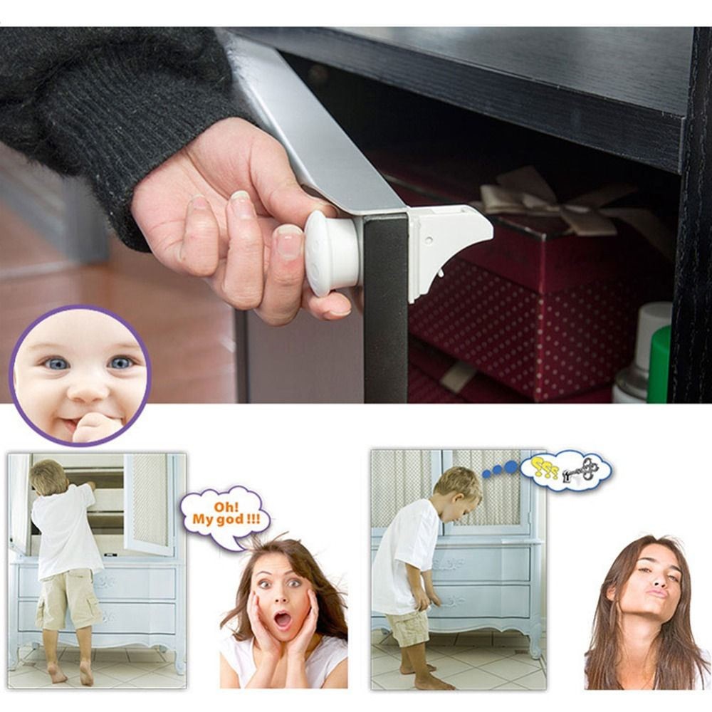 Magnetic Baby Child Cupboard Safety Locks Childproof Magnetic Cabinet Drawer Locks, Magnetic Locking System with 4 Locks +1Key