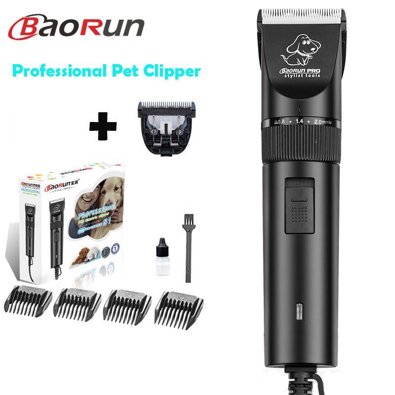 Double-Lames Professional Pet Dog Hair Trimmer Animal Toilettage Clippers Cat Coupeurs Machine Rasoir Électrique Ciseaux Baorun S1