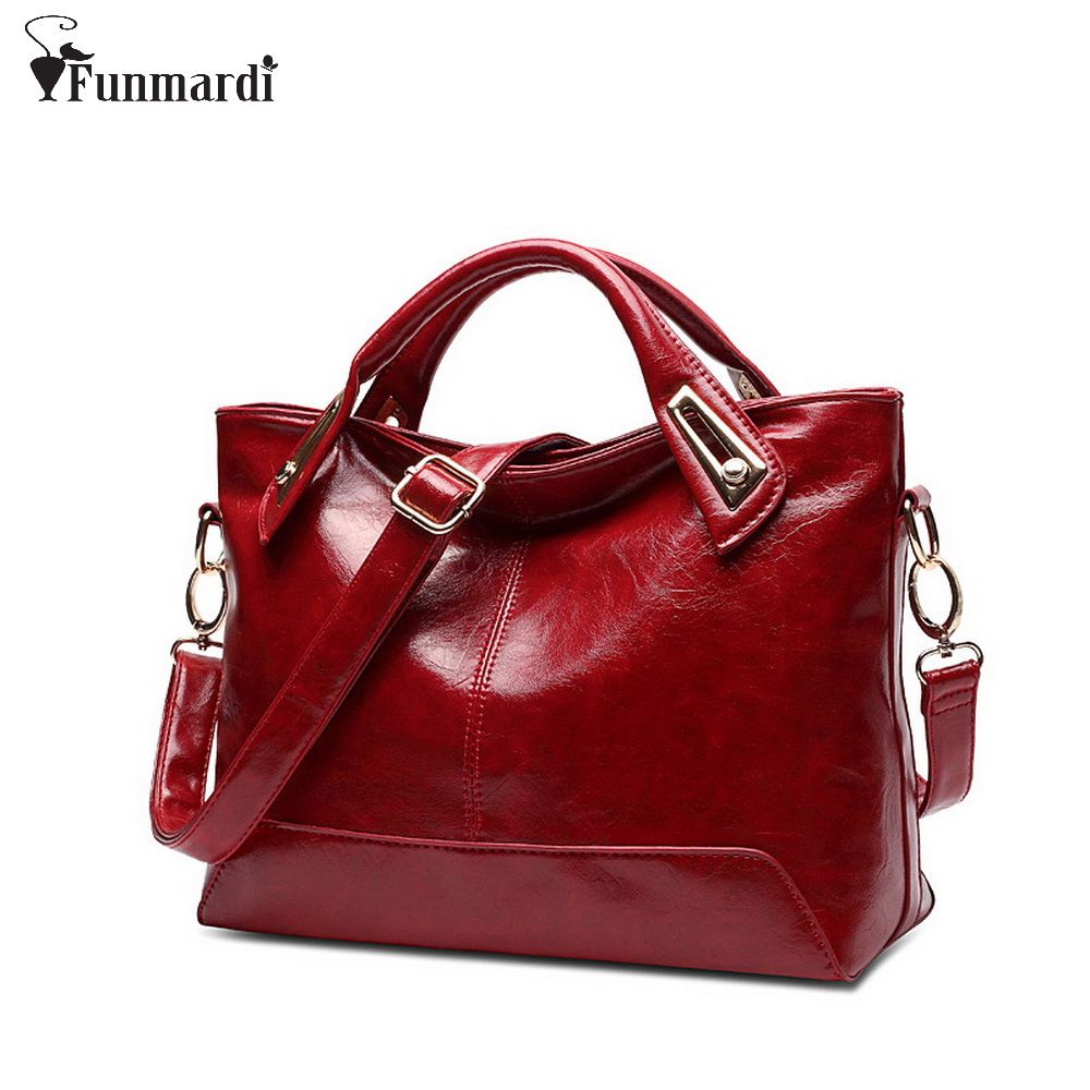 Women Oil Wax Leather Designer Handbags High Quality Shoulder Bags <font><b>Ladies</b></font> Handbags Fashion brand PU leather women bags WLHB1398