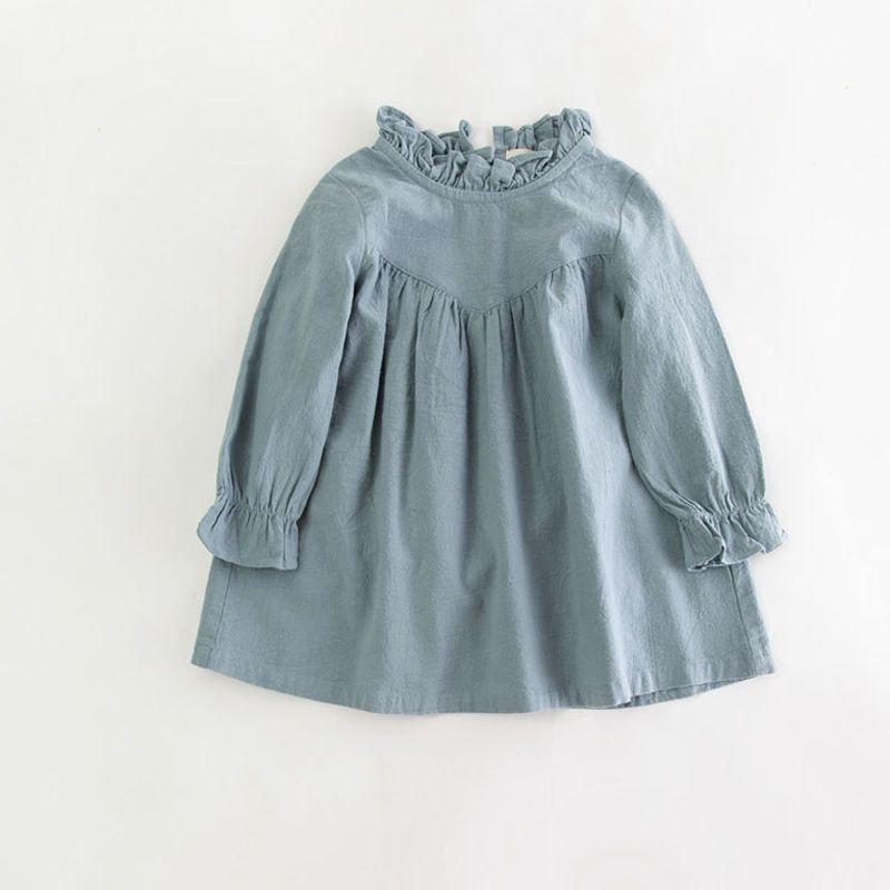 Bébé fille manches longues robe enfants printemps coton lin robe vintage Lâche chemise robes qualité enfants blouse automne vêtements
