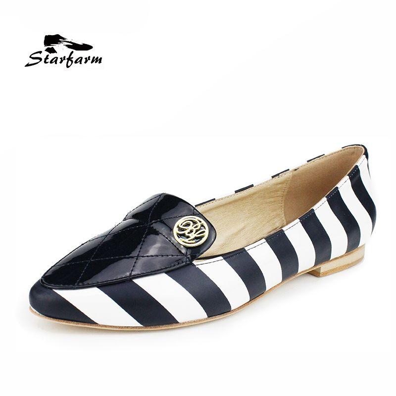 STARFARM Navy White Stripe Women Ballet Flats Pointed Toe Slip-On Leather Flat Shoes Classic Ballerina