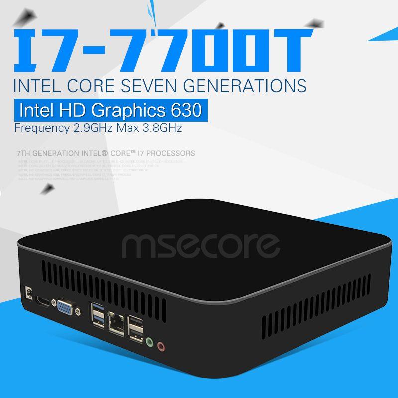 Intel Quad-core I7 de 7700 T de Mini PC Con Windows 10 stick pc sistema NUC barebone nettop Computadora de Escritorio Kabylake Gráficos 4 KWiFi HD630