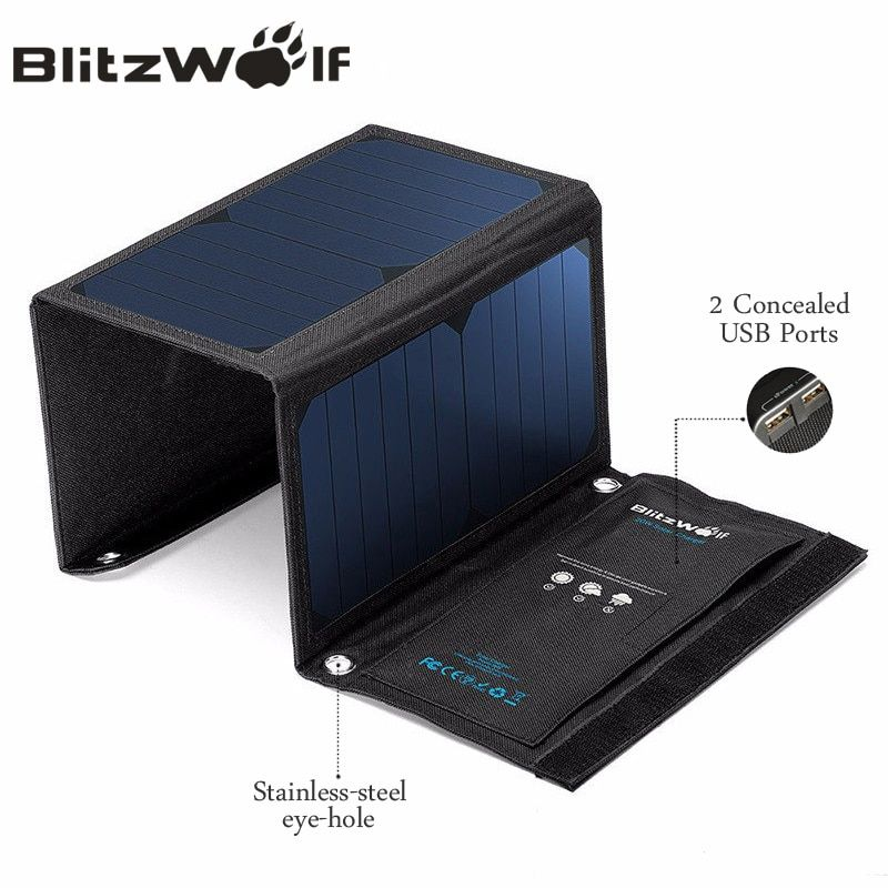 BlitzWolf 20W Solar Power Bank Solar Panel Portable Charger External Battery Universal Powerbank For iPhone For <font><b>Xiaomi</b></font> Phones