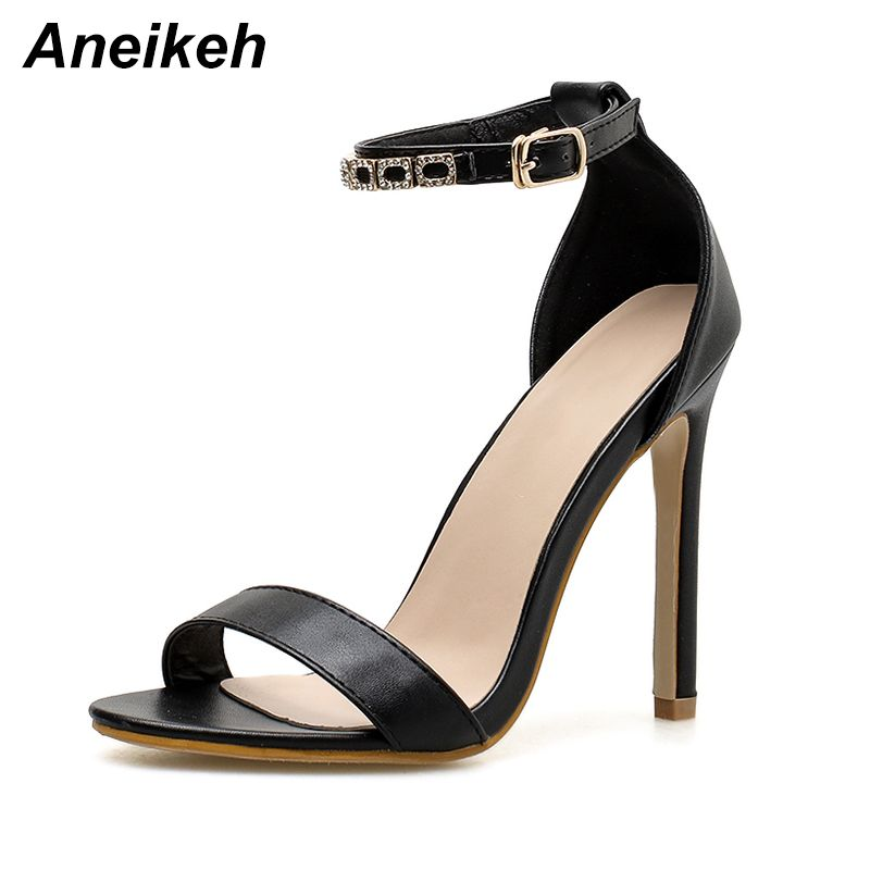 Aneikeh Sexy Woman Sandals Thin High Heels 11cm Gladiator Crystal Buckle Strappy Open Toe Fashion Summer Ladies Party Shoes