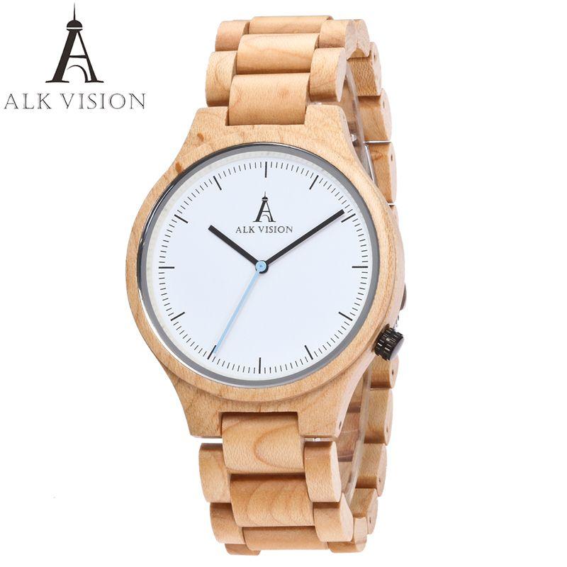 ALK Visión hombres de Madera Relojes de Cuarzo japonés Reloj de pulsera de Regalo para Mujeres de Los Hombres Amantes de la marca de lujo Relogio masculino Reloj de señoras