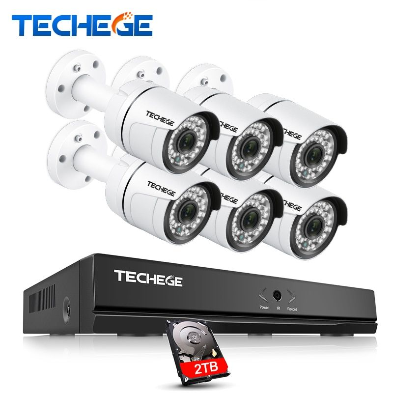 Techege 8CH CCTV Security Kit 3000TVL IP Camera 2.0megapixel Waterproof Night Vision IR 20M Onvif P2P Camera System Video System