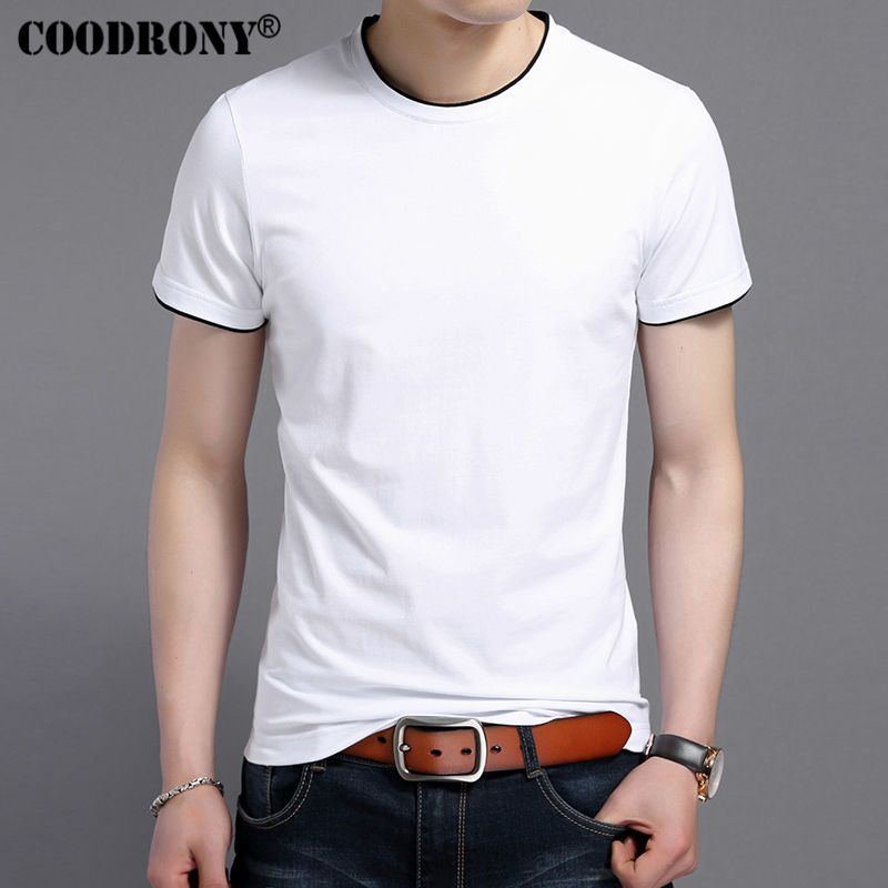 COODRONY 2018 Summer New Short Sleeve T-Shirt Men Soft Cotton T Shirt Men Casual O-Neck Slim Fit Tee Shirt <font><b>Homme</b></font> Brand Top S7609