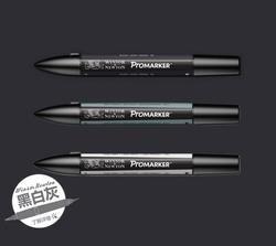 Winsor & Newton ProMarker Twin Tip Graphique Marqueur Stylo-GRIS et NOIR