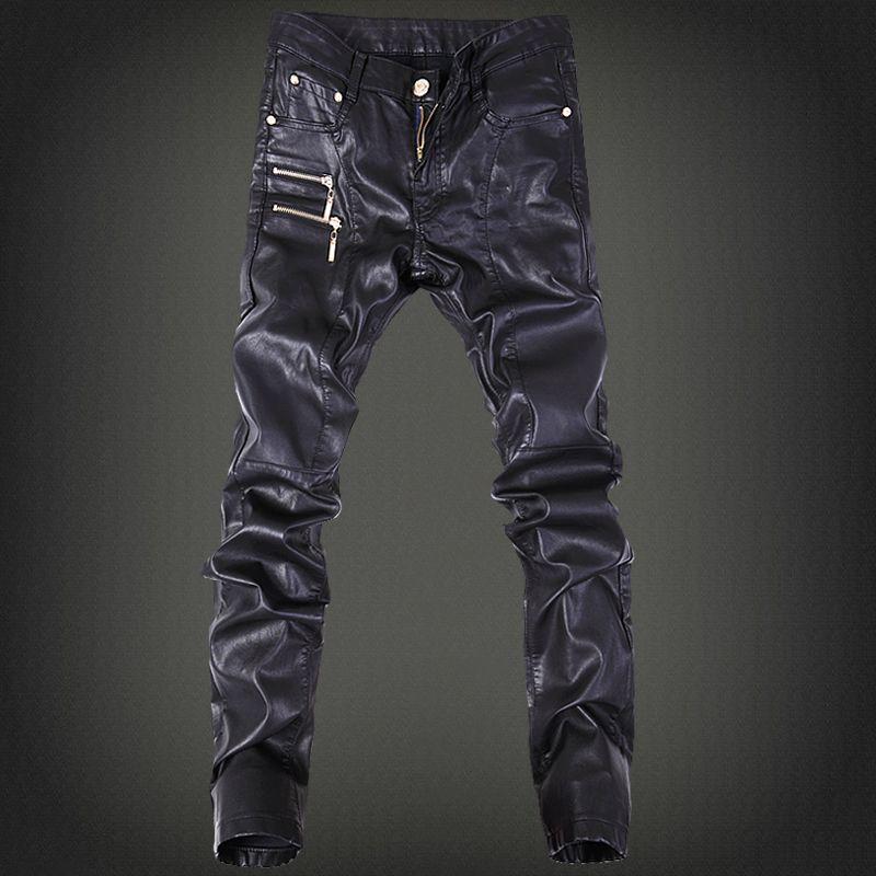 2019 hommes de mode de pantalon, pantalon en cuir marée mâle discothèque Quatre Saisons peut porter en cuir pantalon hommes sauvage long Pieds pantalon